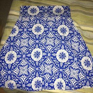 LulaRoe Blue/White Azure Skirt